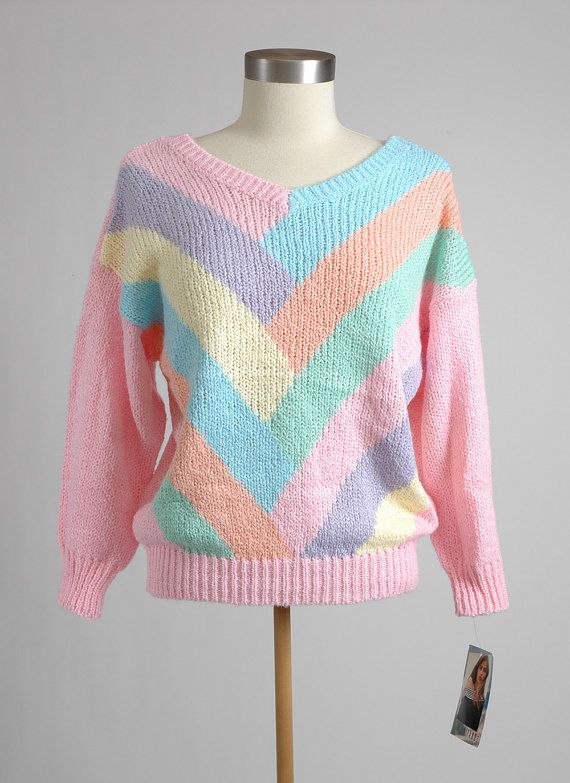 8dcecc5b14 New 1980 s Colorful Pastel Gitano Sweater with by sweetairvintage ...