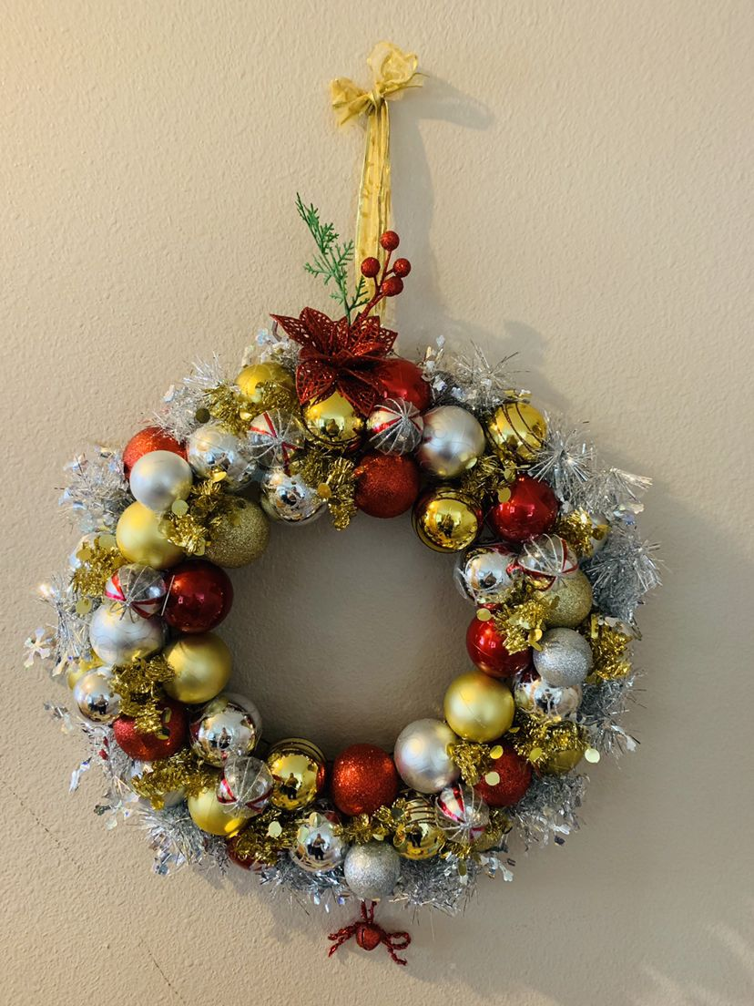 Create your own ornament wreath using Dollar Tree