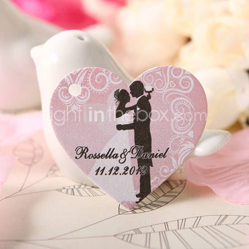 Personalized Heart Shaped Favor Tag - Wedding Kiss (Set of 60)  £12.10