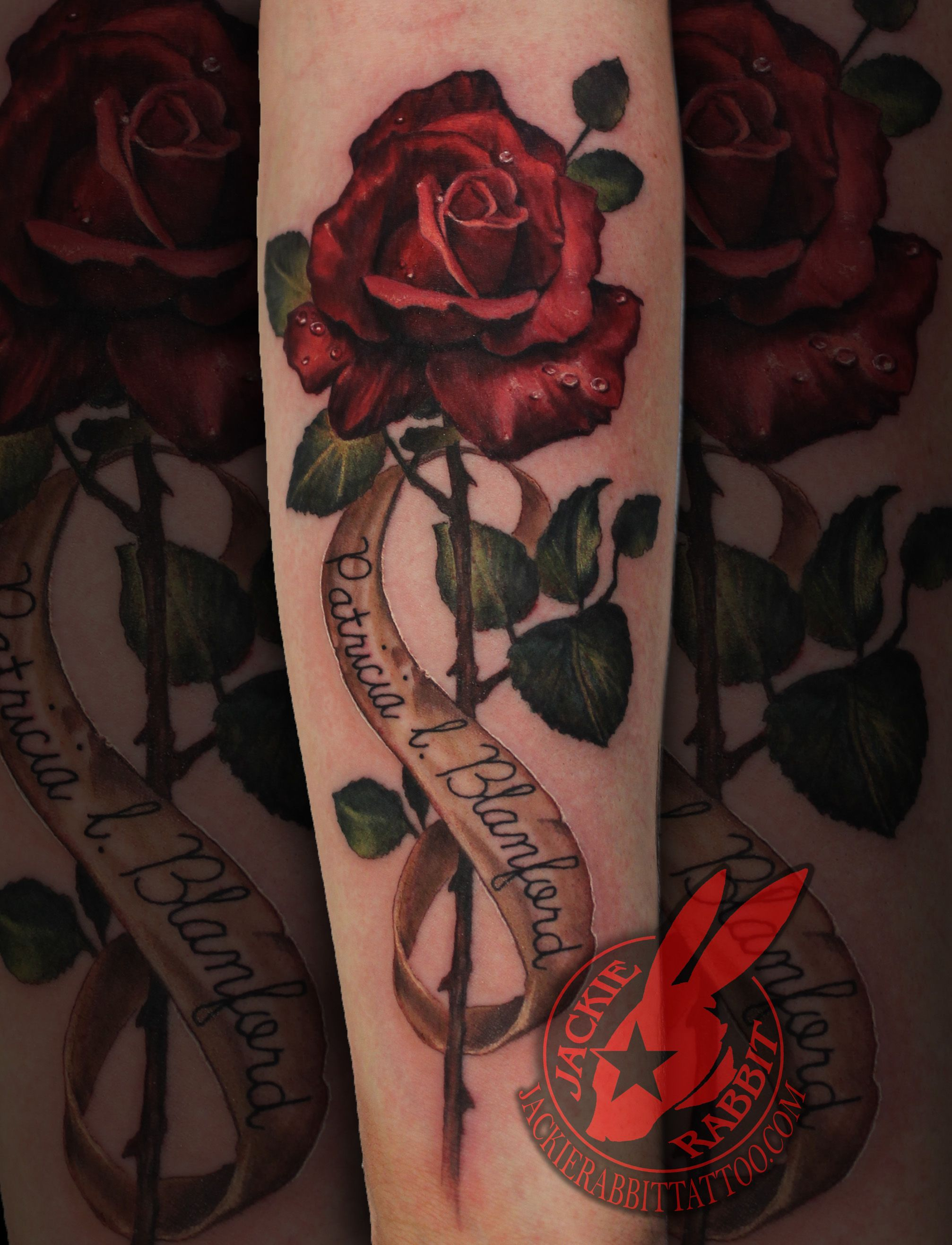 Vintage Realistic Red Rose 3d Name Color Banner Lettering Font Tattoo By Jackie Rabbit Flower Tattoo Back Flower Tattoo Shoulder Flower Tattoo On Side