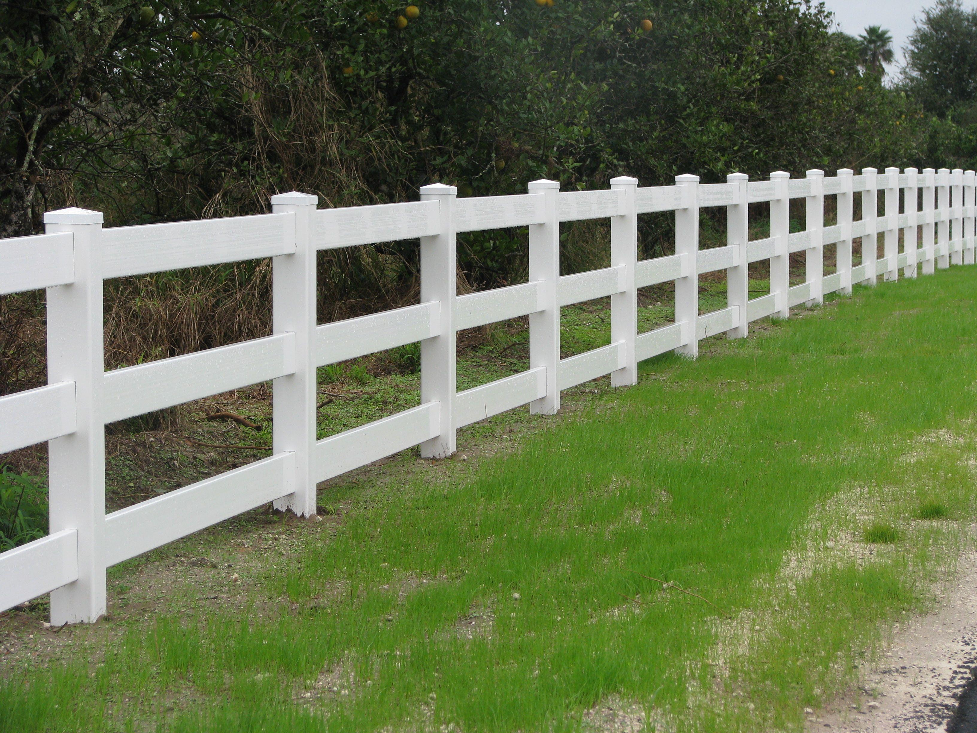 3 rail white vinyl ranch rail designed by mossy oak fence pany