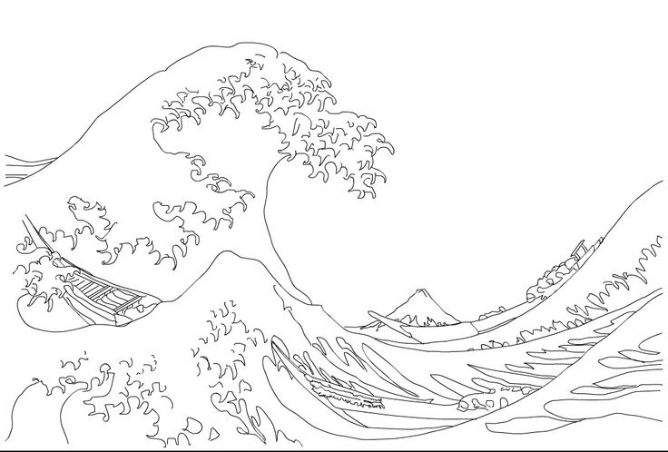 Hokusai Great Wave Coloring Page Waves Sketch Wave Drawing