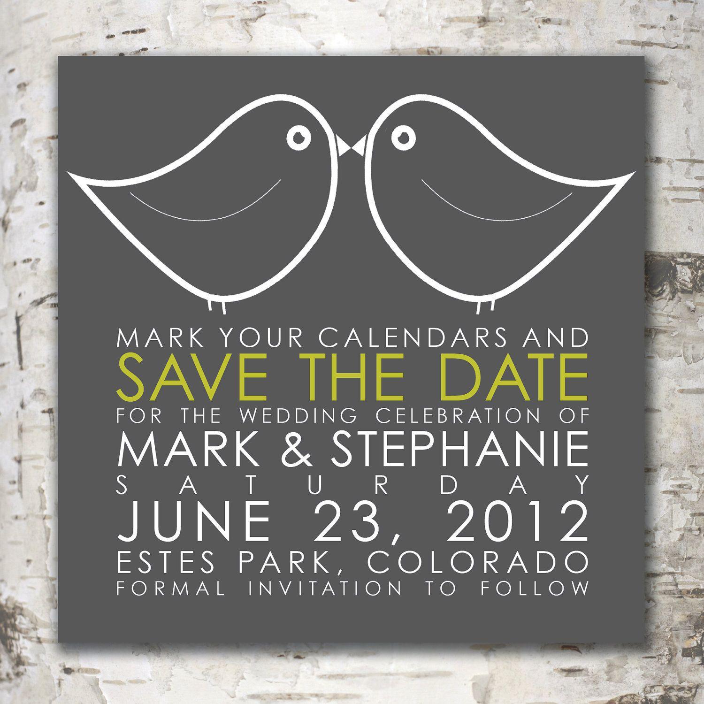 Custom Digital SAVE THE DATE Design - Modern Love Birds. $15,00, via Etsy.
