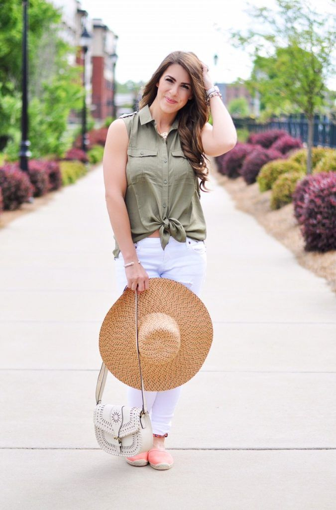 pink espadrilles, espadrille flats, espadrille statement shoes, army green fashion, pink and green fashion, distressed white jeans, affordable distressed jeans, white cutout saddle bag, pink sun hat, tie front blouse, spring fashion, spring outfit ideas, spring trends, spring outfit inspo,spring OOTD