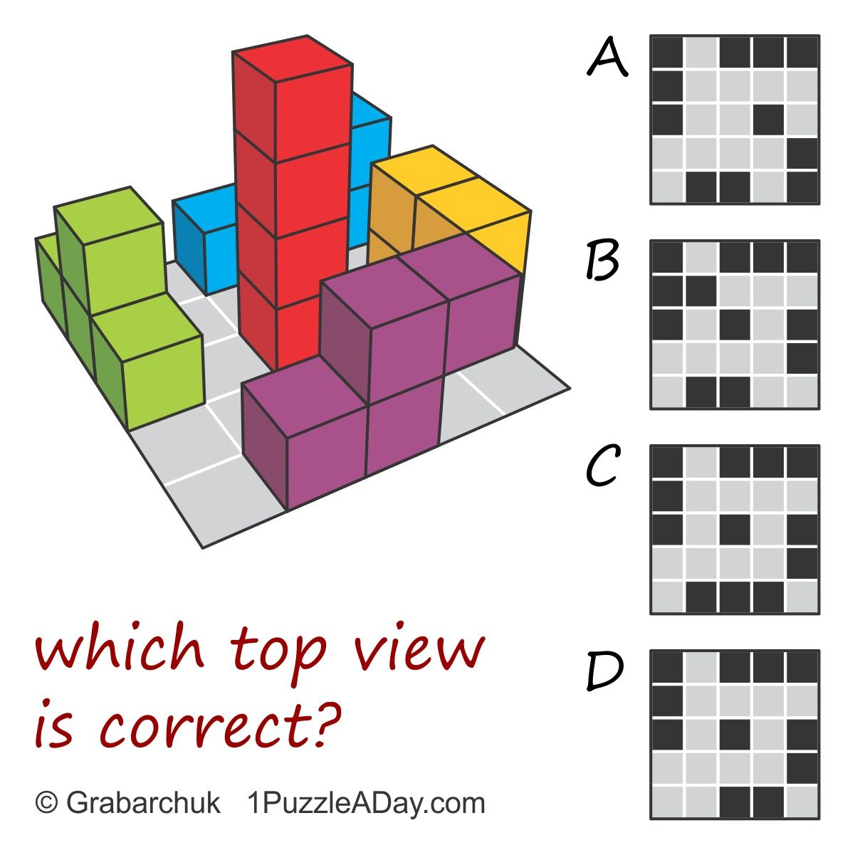 #1PuzzleADay: Which top view is correct? More at www ...