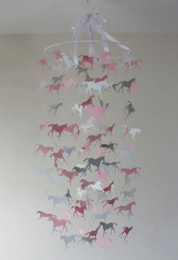 Horse nursery mobile wild horses by thebutterflyinbloom on etsy horse nursery mobile wild horses chandelier mobile in grey and pinks horse mobile crib mobile nursery decor gift baby girl aloadofball Choice Image