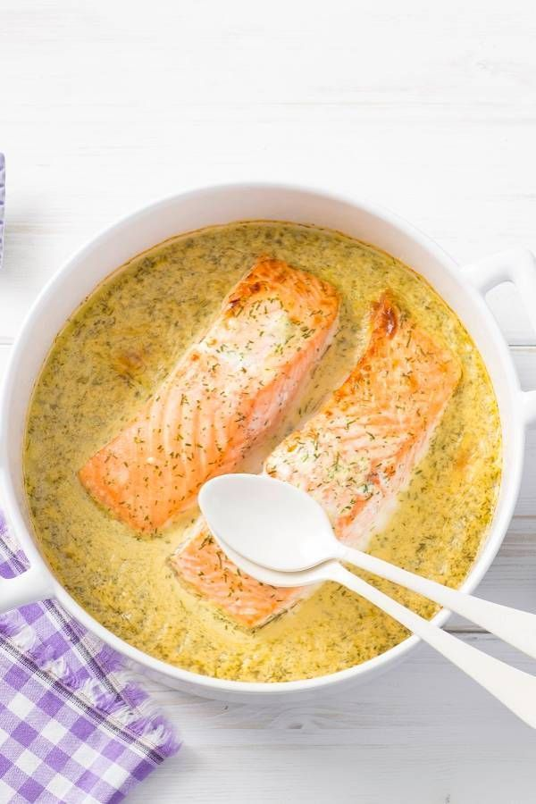 Photo of Homemade honey mustard dill sauce on oven salmon
