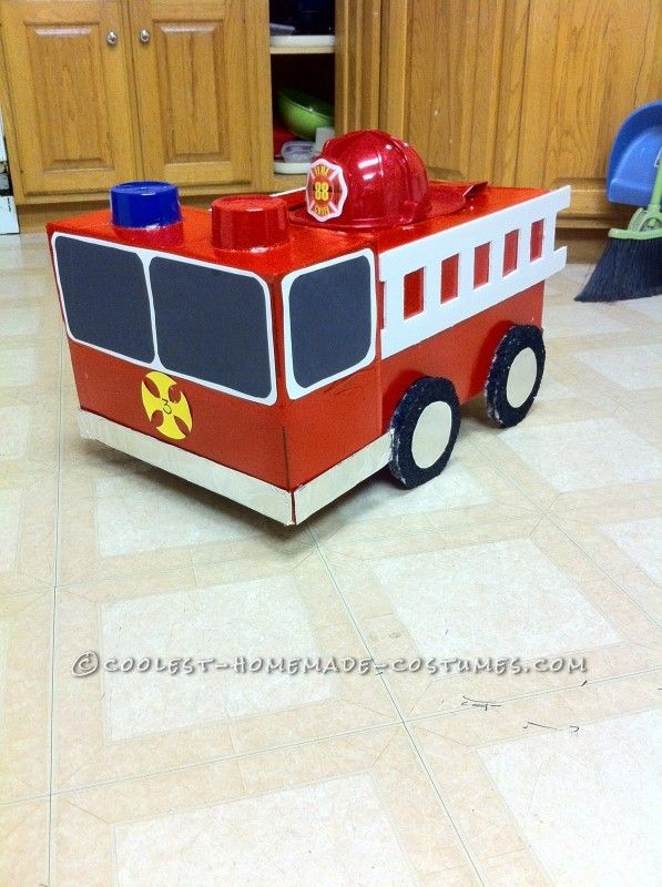 Coolest Homemade Firetruck Costume for a Toddler - 8