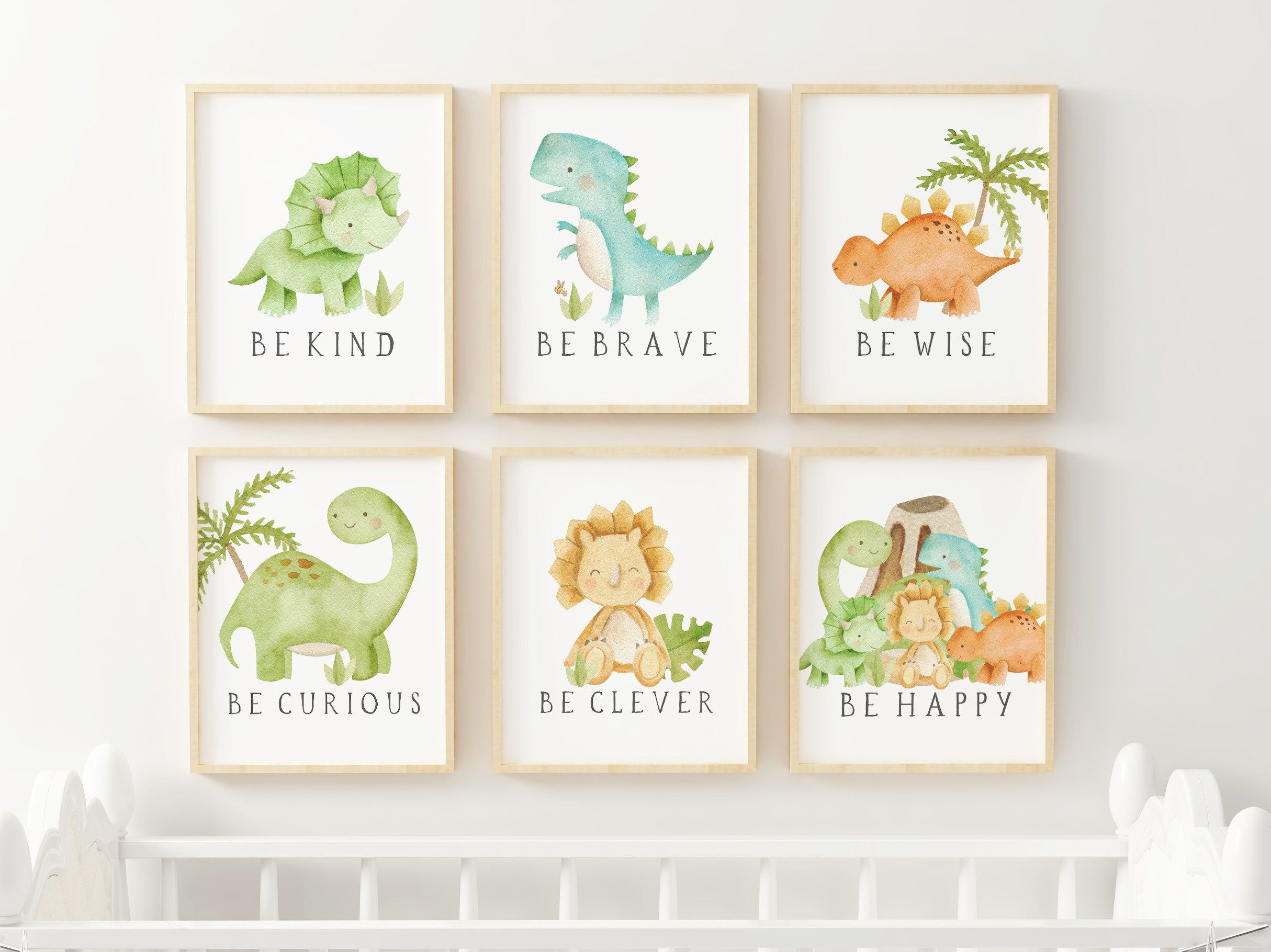 Dinosaur Nursery Prints, Dinosaur Nursery Decor, Nursery Print, Baby Shower Gift, Printable Wall Art, Digital Download