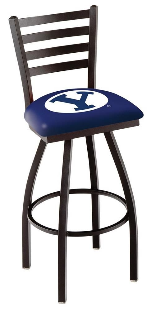 BYU Brigham Young University Swivel Bar Stool with Ladder Back