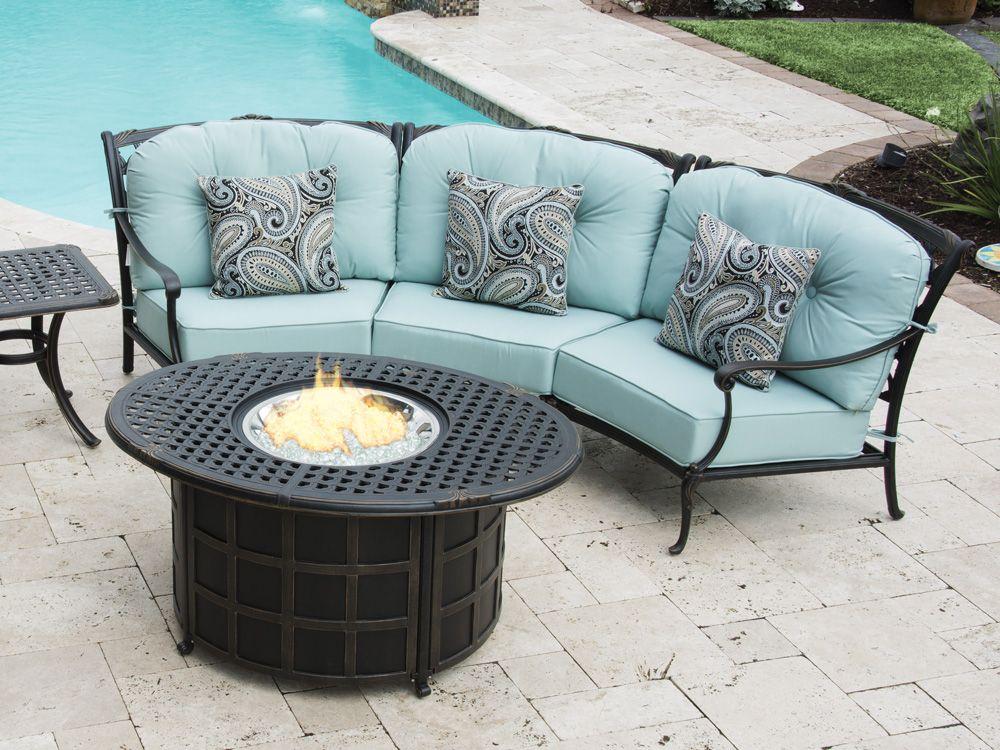 Bordeaux 4 Pc Cast Aluminum Crescent Sectional Fire Pit Seating Group With 52 X Cast Aluminum Patio Furniture Aluminum Patio Furniture Outdoor Furniture Sale