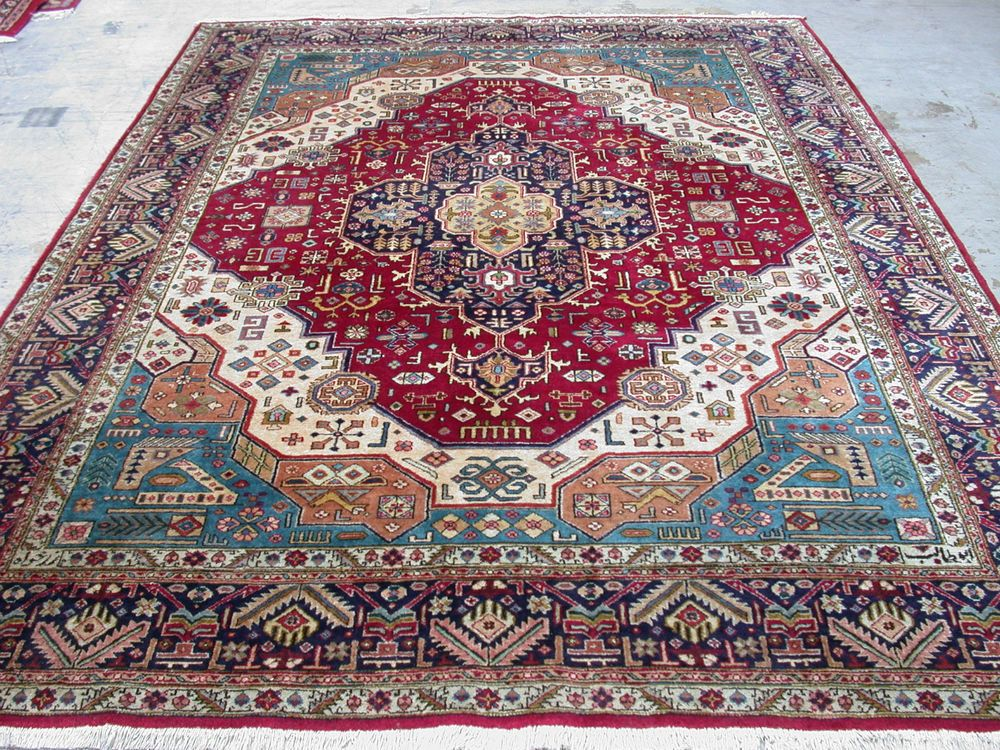 Persian Oriental Tabriz Hand Knotted Wool Geometric Reds Blues Signed Rug In Home Garden Rugs Carpets Area