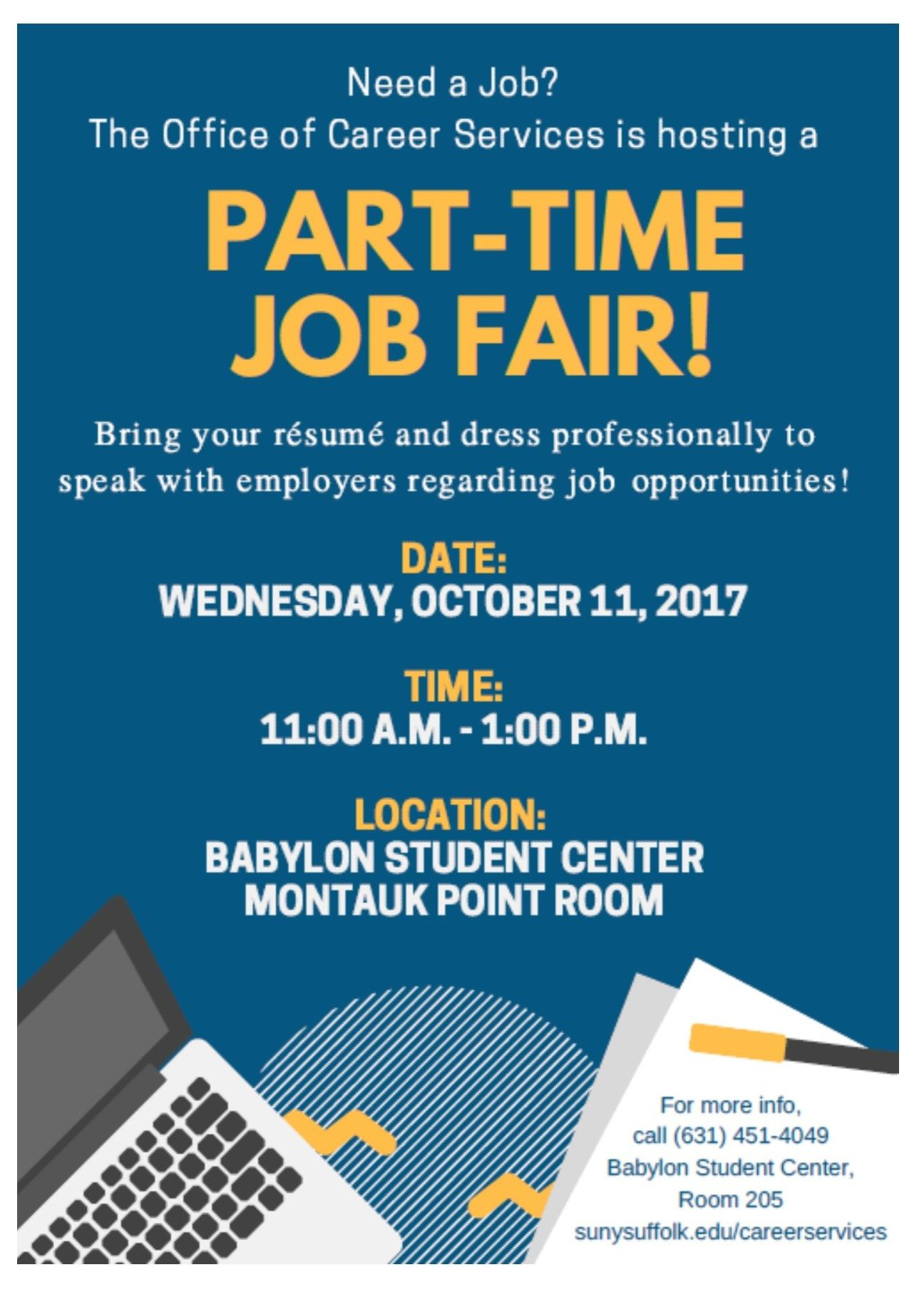 10/11/17 PartTime Job Fair hosted by Suffolk County