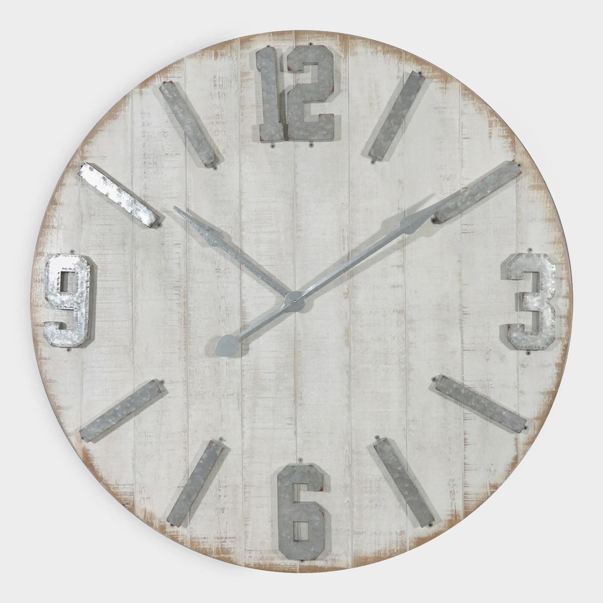 Rustic whitewashed wood wall clock by world market in