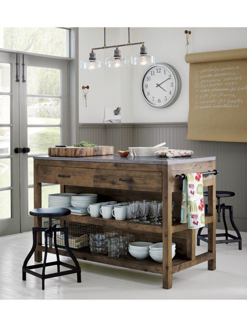 Bluestone Reclaimed Wood Large Kitchen Island Crate And Barrel - Kitchen island crate and barrel