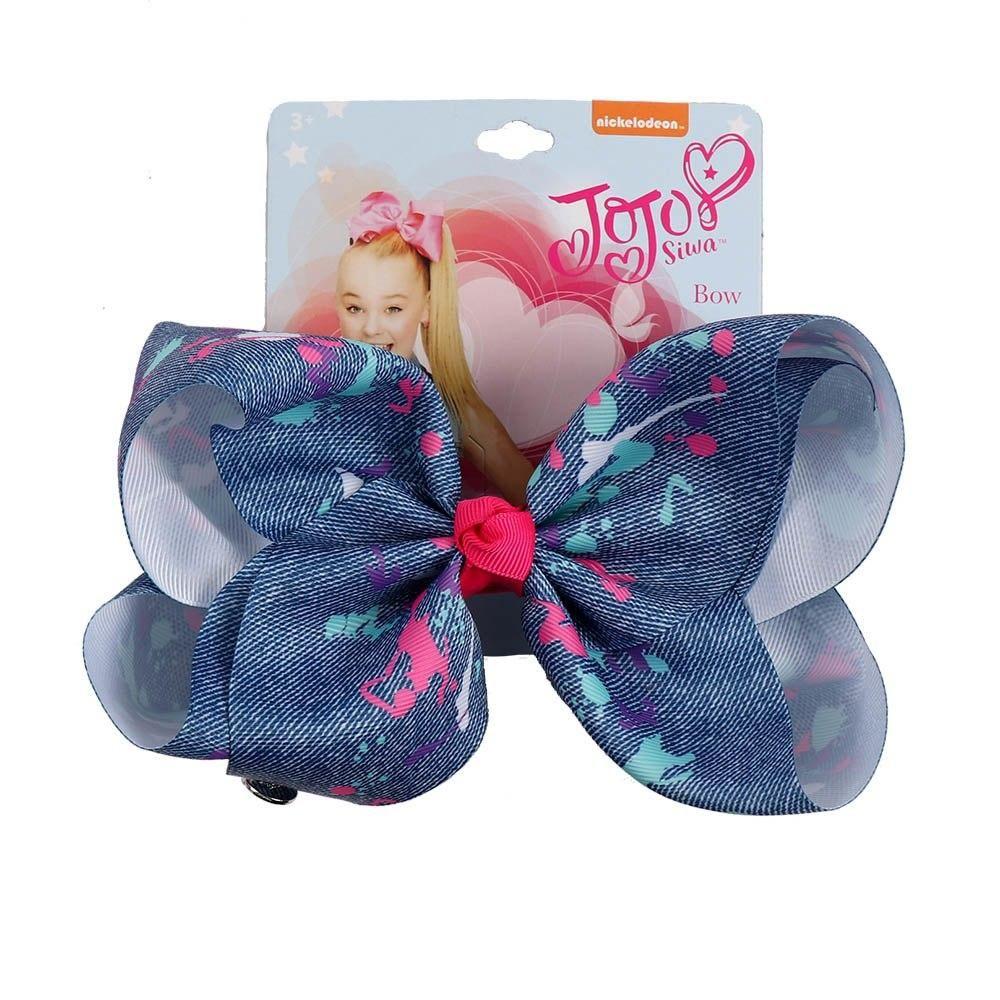 "NEW 8/"" cartoon JoJo Siwa Shine Unicorn on Wing Hair Bow With Clip Girls Bowknot"