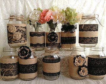 10x rustic burlap and lace covered mason jar vases wedding decoration. #weckgläserdekorieren