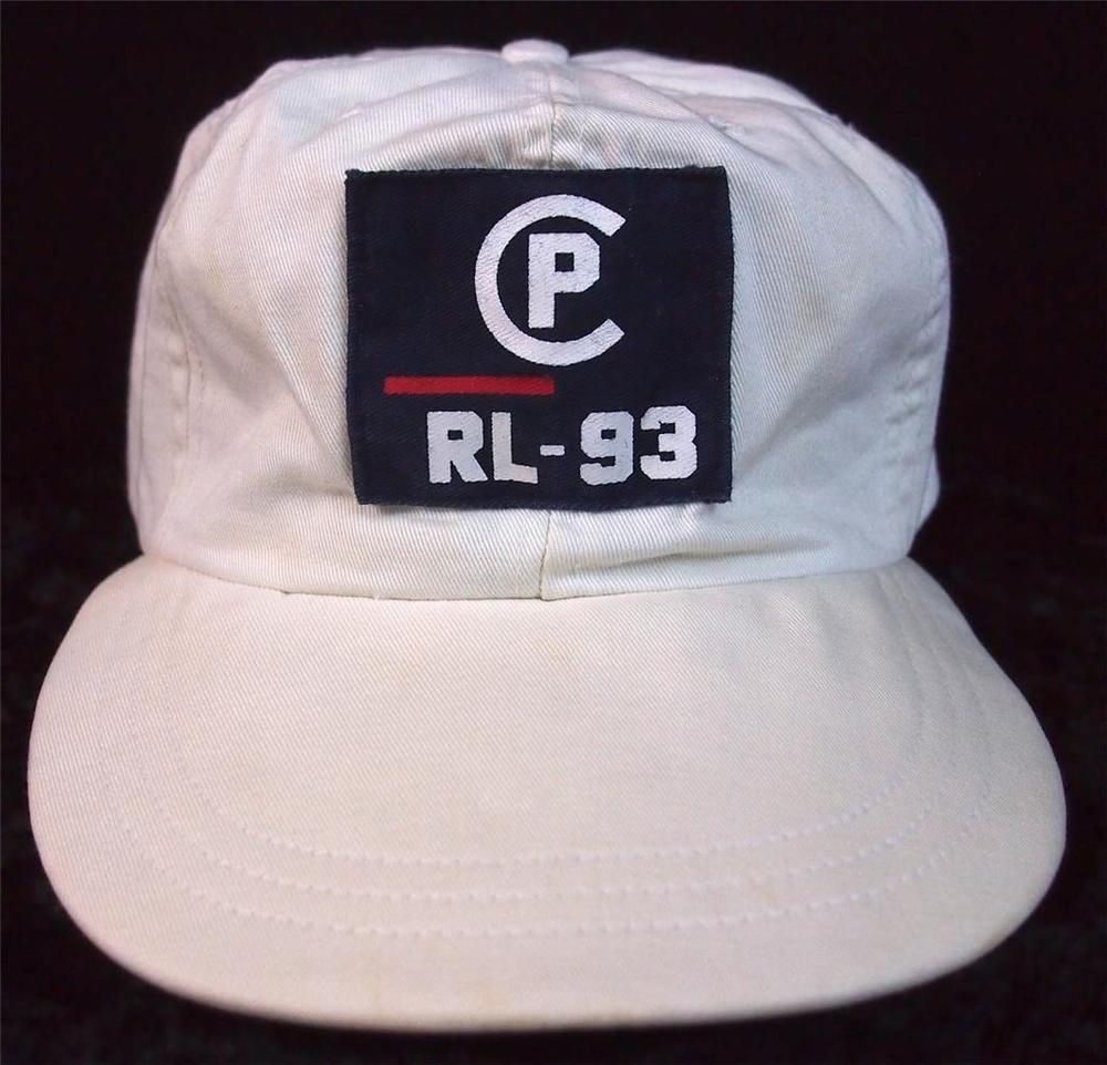 da828982fd2bf vtg Ralph Lauren Polo WHITE CP RL-93 Big Logo Hat Cap Stadium P Wing RARE  XL USA  RalphLaurenPolo