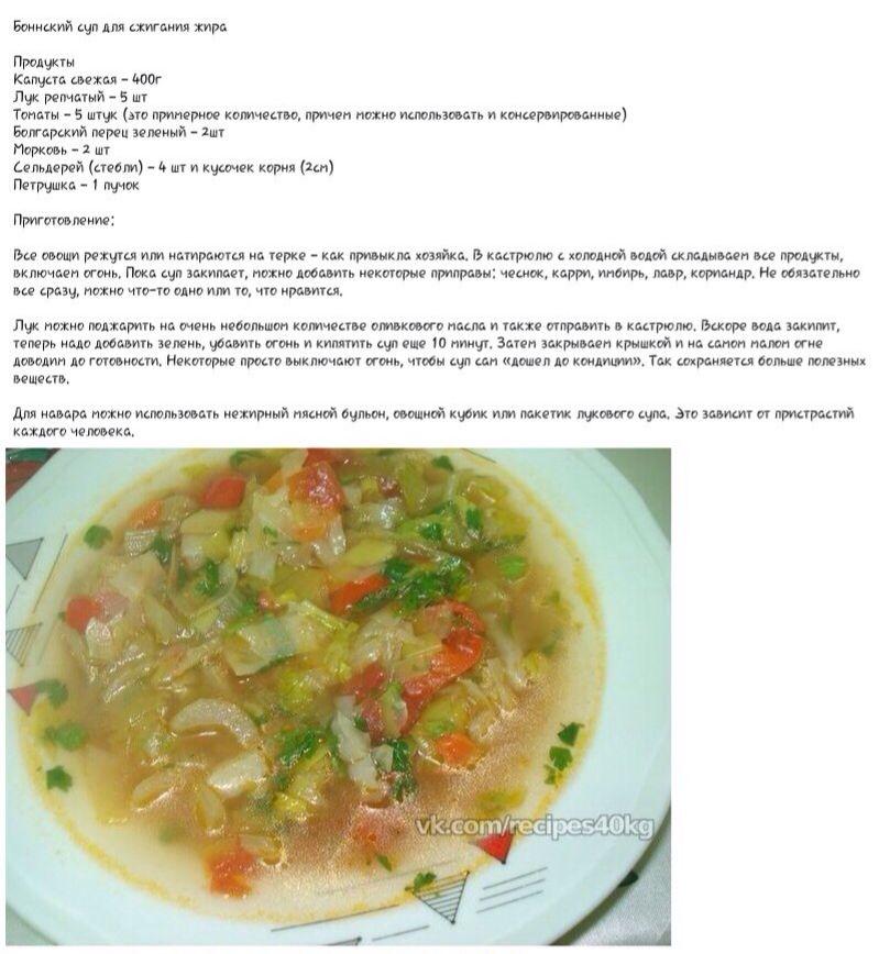 Результаты на диете боннский суп