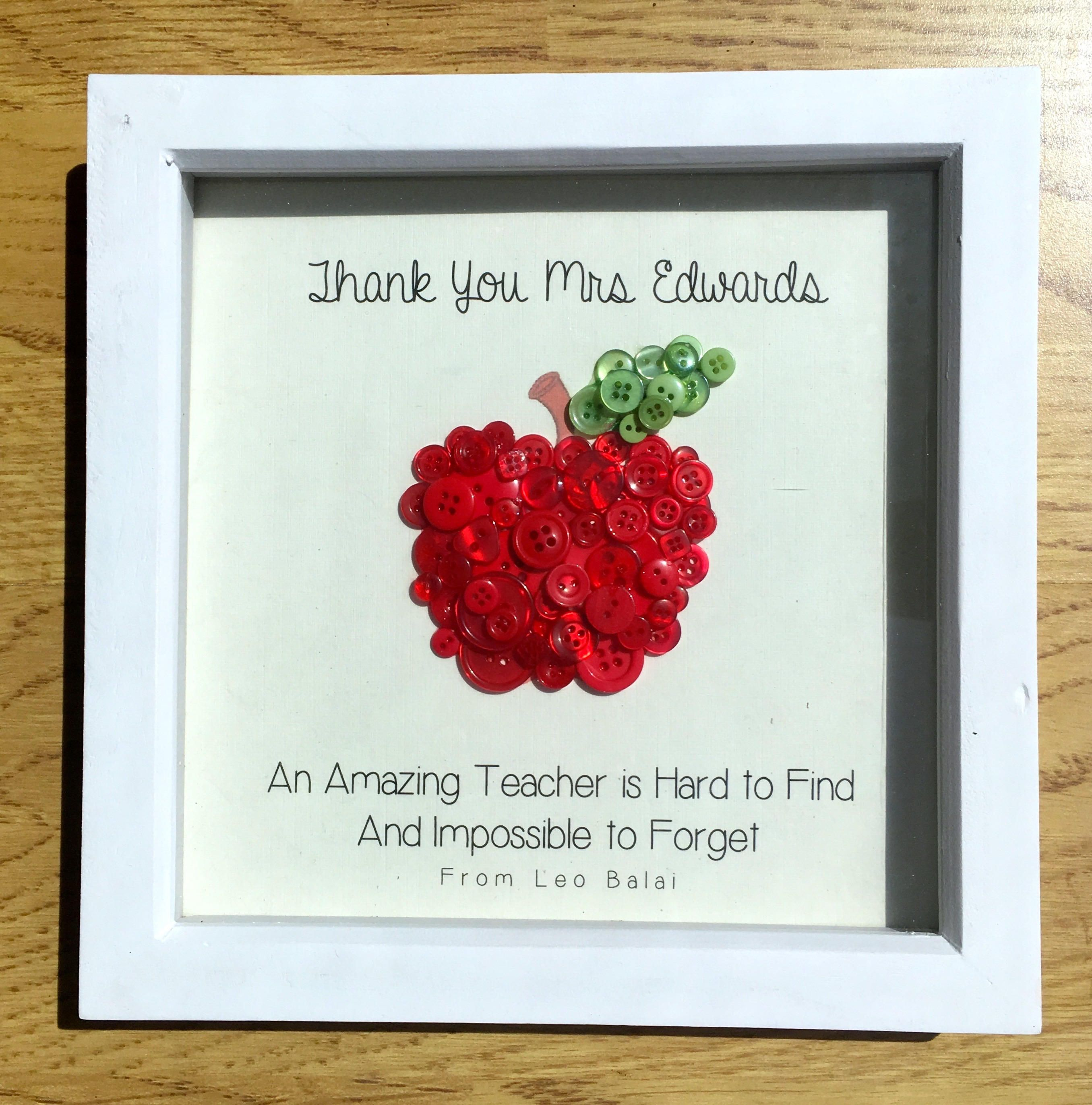Personalised Thank You Teacher Gift Button Collage