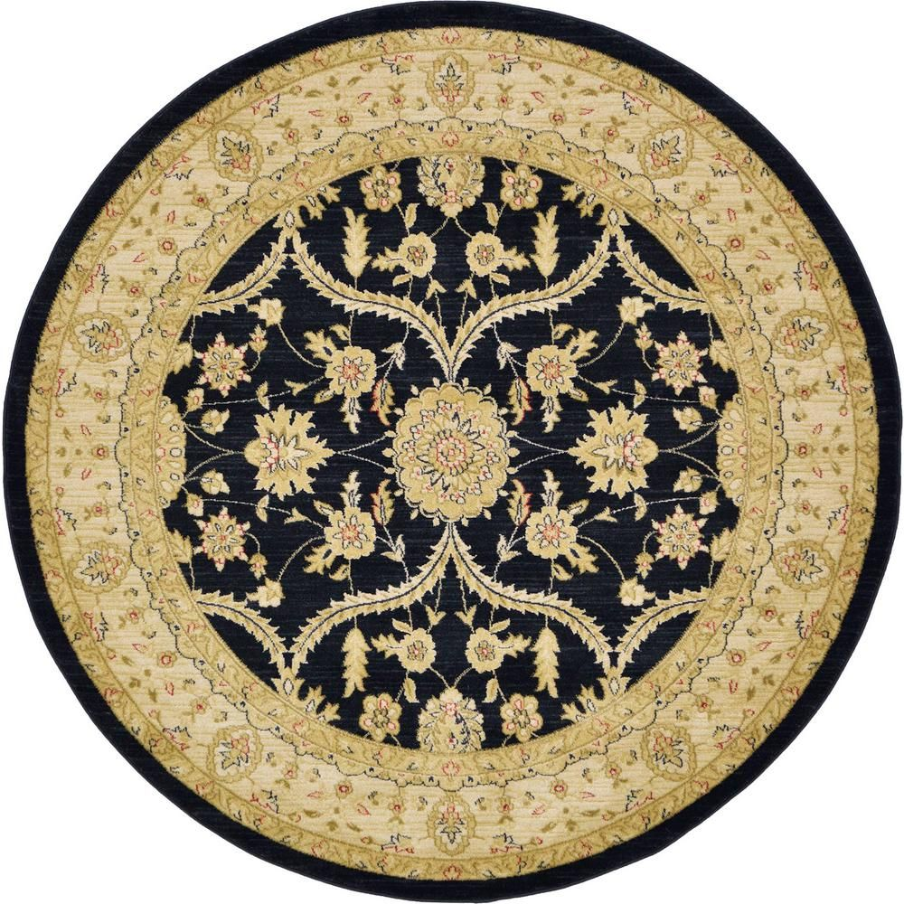 Unique Loom Edinburgh Tansy Black 6 0 X 6 0 Round Rug Round