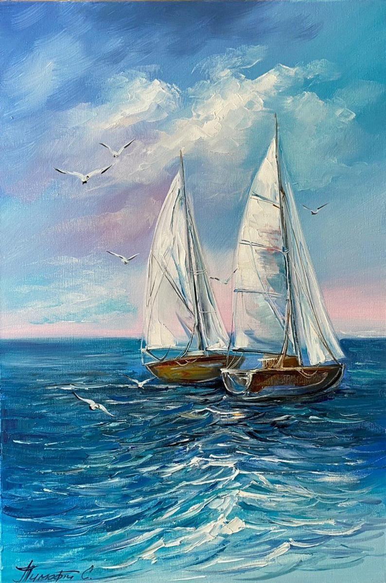 Seascape Oil on Canvas Painting Original Art Nautical Art Sailboat Paintings