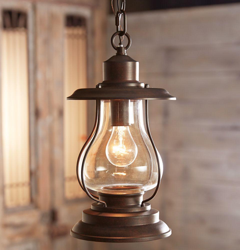 Weathered patina lantern pendant light western style home lodge