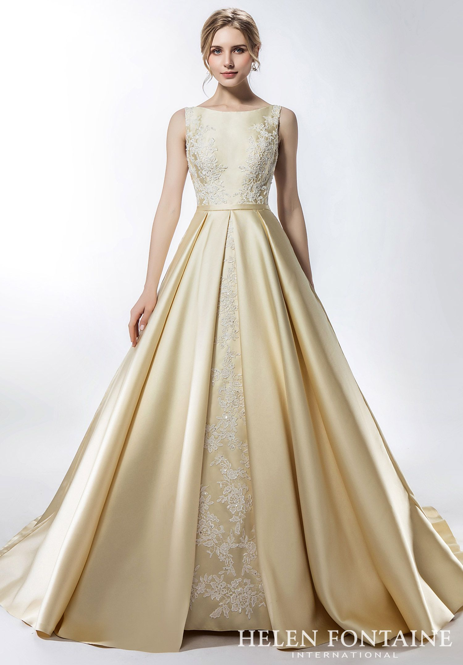 Non White Satin A Line Wedding Reception Dress With Coloryle