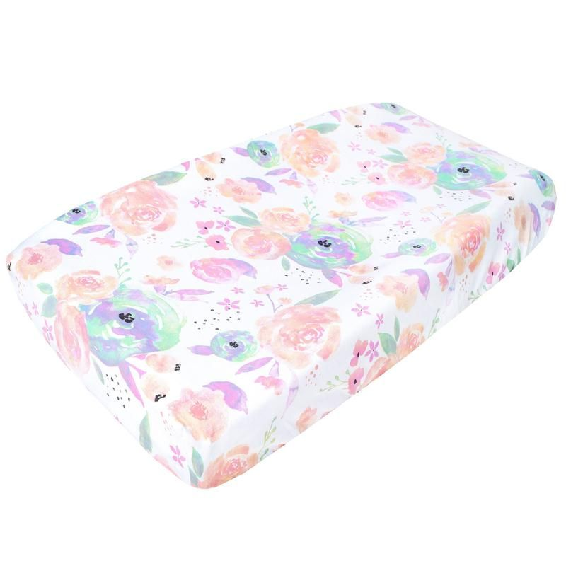Premium Cotton Diaper Changing Pad Cover Gender Neutral Feather Print Cotton Cradle Sheet Fits Standard Contoured Changing Table Pads Cover for Baby Boys or Girls By LifeTree