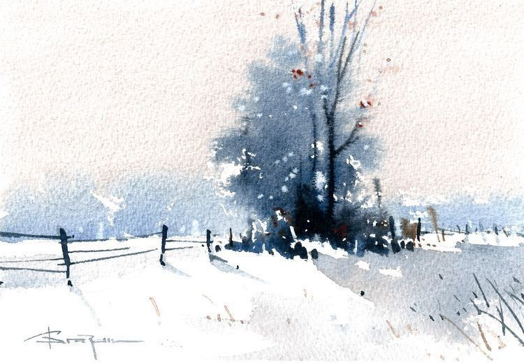 Fence In Snow Paysage Aquarelle