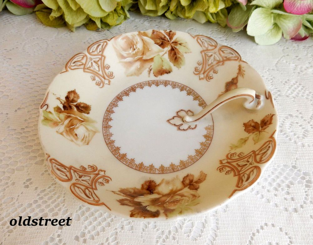 Beautiful Vintage Hermann Ohme Old Ivory Porcelain Nappy Dish ~ Flowers ~ Gold #HermannOhmeOldIvory