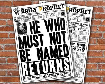 photograph regarding Daily Prophet Printable known as PRINTABLE Each day Prophet Handles Harry Potter Newspaper Fourth