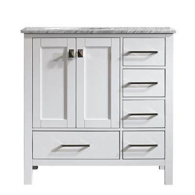 Roswell Gela 36 In W X 22 In D X 35 In H Vanity In White With Marble Vanity Top In White With Basin Marble Vanity Tops Single Bathroom Vanity Vanity Set