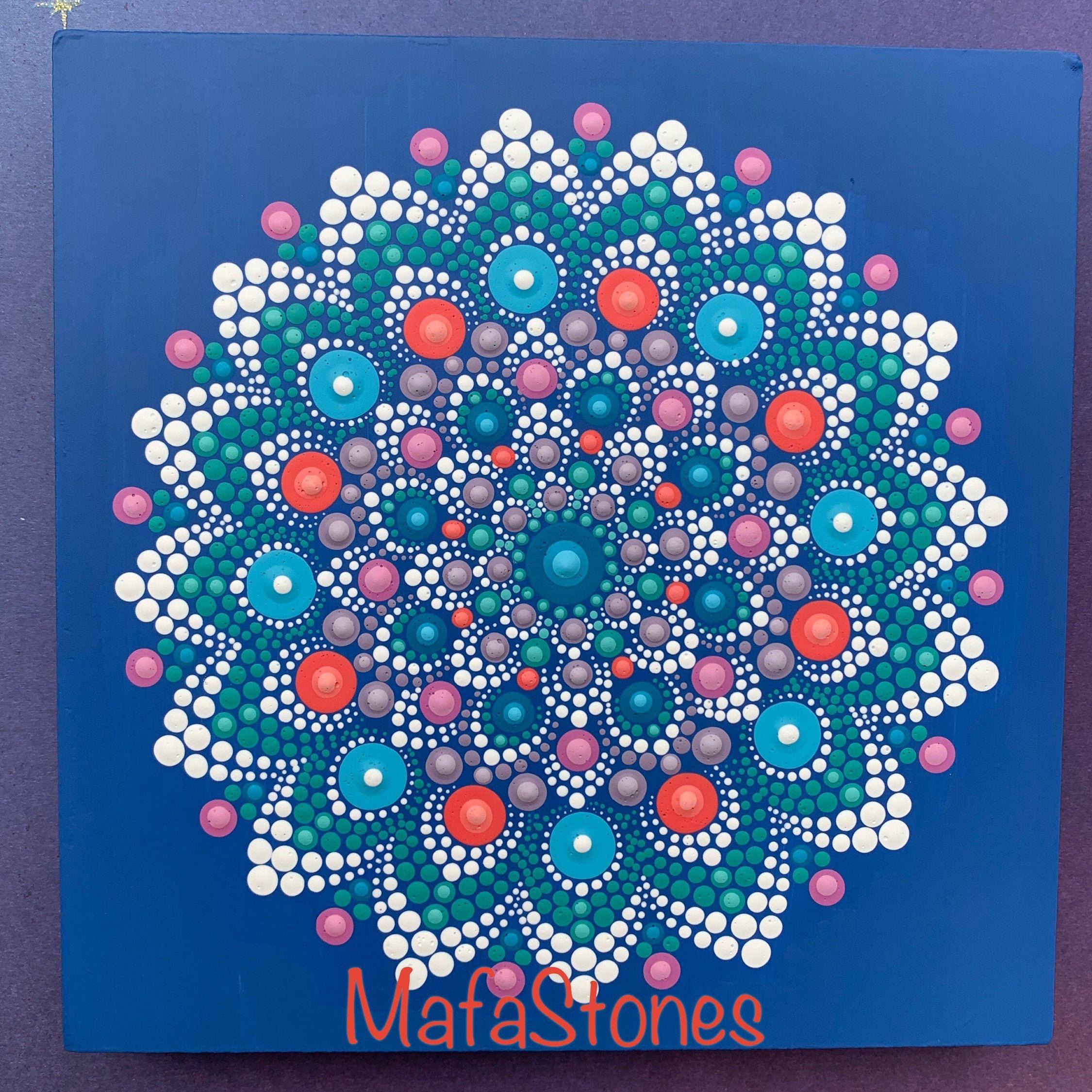 Hand Painted Mandala on a Gesso Board, Meditation Mandala, Dot Painted Wall Art, Zen Art, Boho Decor, Wall Art, Mandala Wall Art, #864