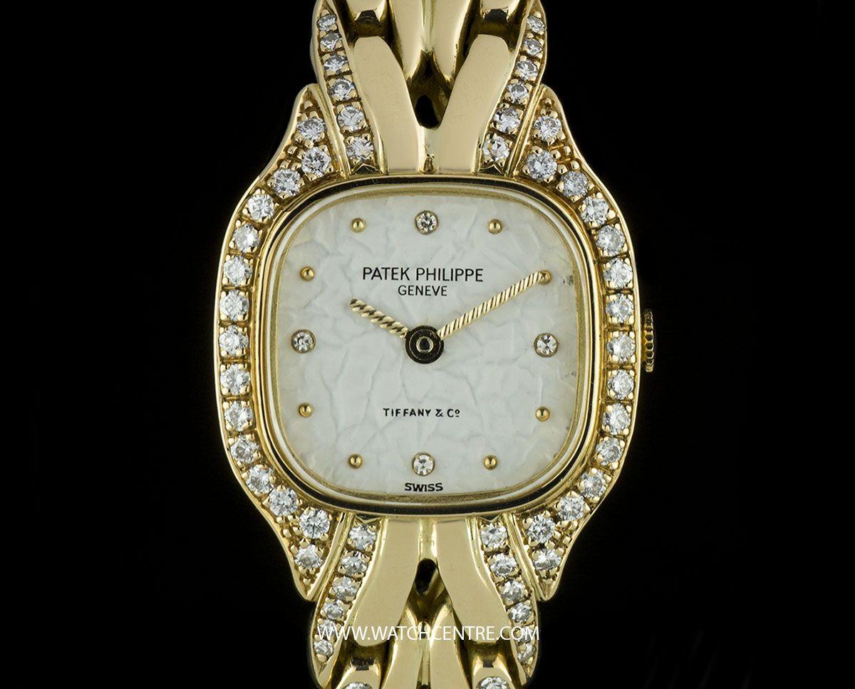 Patek Philippe 18k Y G Double Name Tiffany Dial Diamond La Flamme 4715 3 Patekphillipe 18kyellowgold Diamonds Tiffany Ladies Wristwatch Watchcentre Luxur