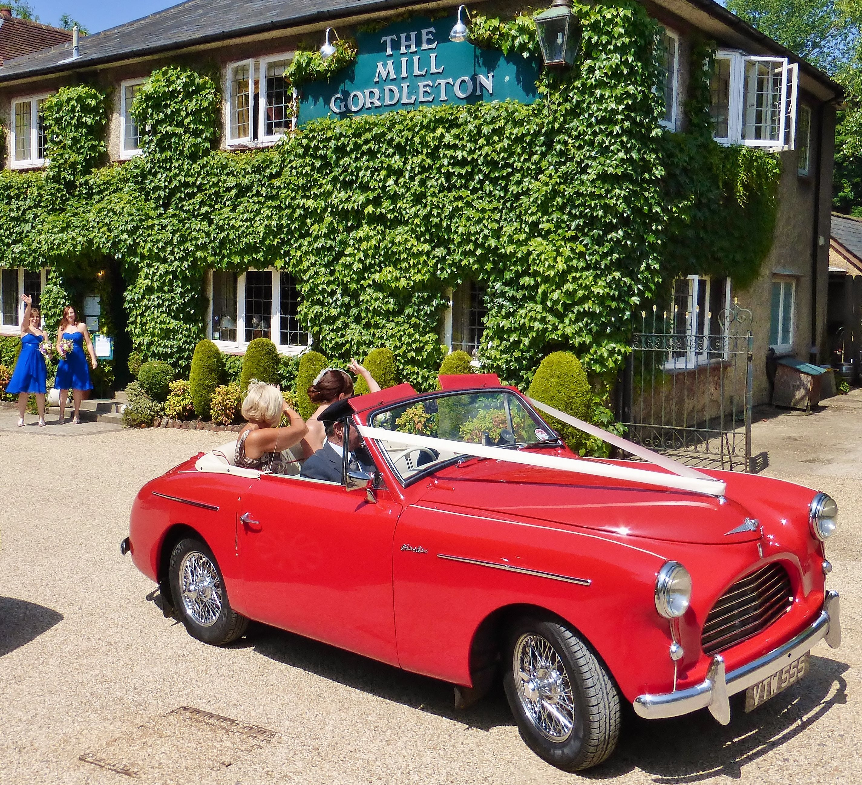 Wedding Cars Leaving Gordleton Mill Near Lymington With Bride On Route To Her Venue Ed By