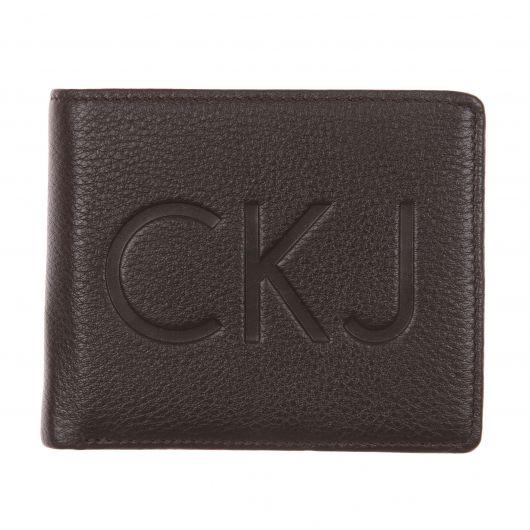 Portefeuille Calvin Klein Jeans En Cuir Texturé Marron à 3 Volets