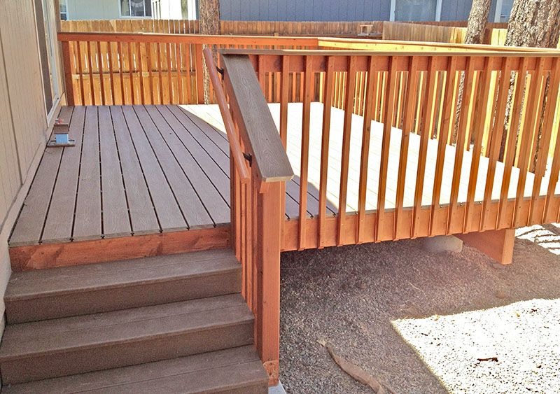 Trex Deck With Redwood Handrails In Flagstaff Arizona By Highwood  Construction