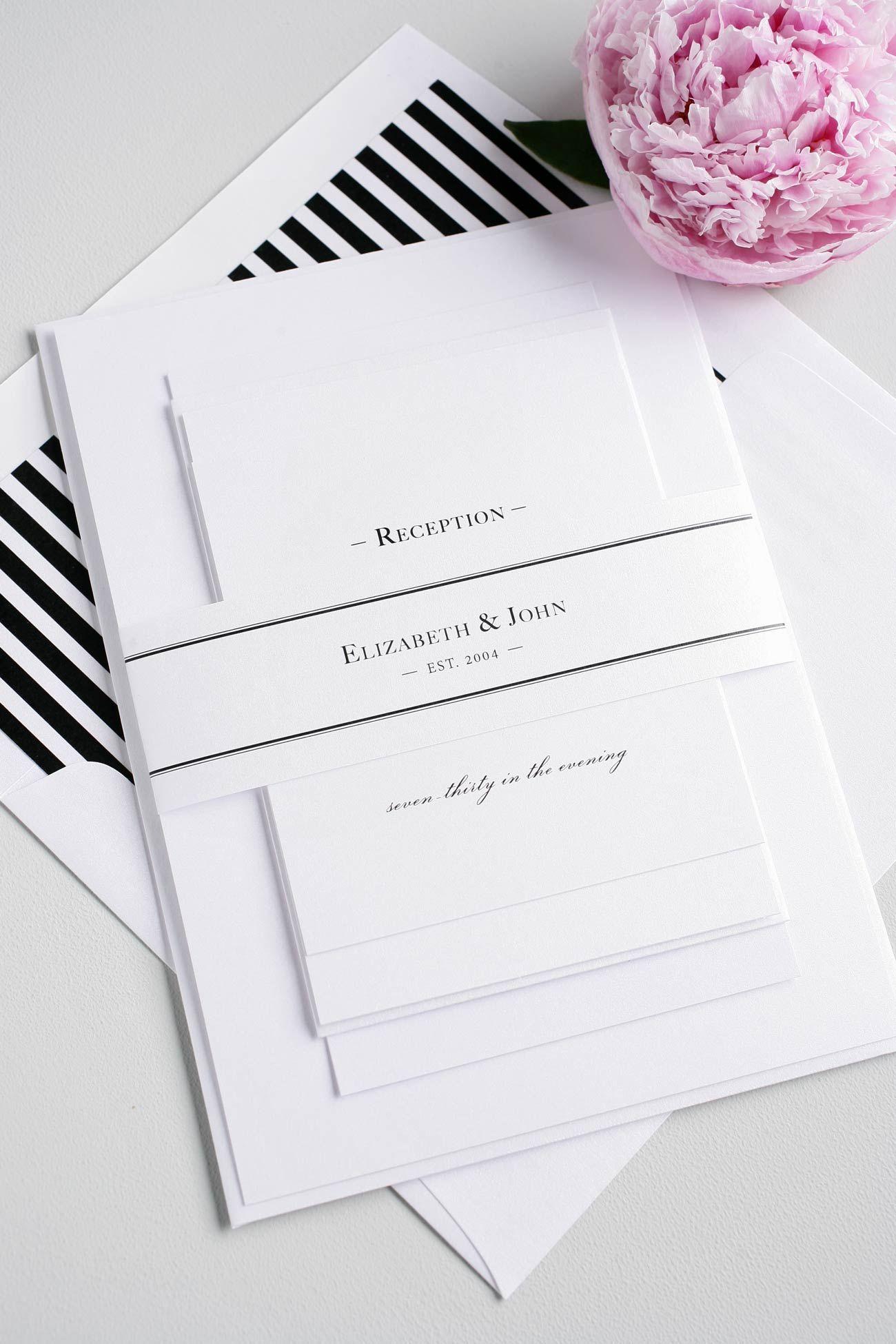 Black + White Striped Monogram Wedding Invitations | Pinterest ...