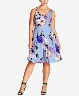 3aeb36e440 City Chic Trendy Plus Size Floral-Print Fit   Flare Dress - Blue ...