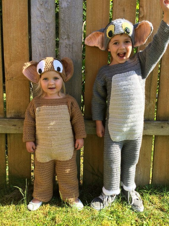 d34a2d2c923 Pattern - Tom and Jerry crochet hats - toddler through adult sizes ...