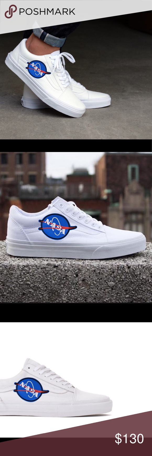 Custom Vans Old Skool Embroidered NASA customize your own!! Beautiful sleek  design of vans a229330b2f