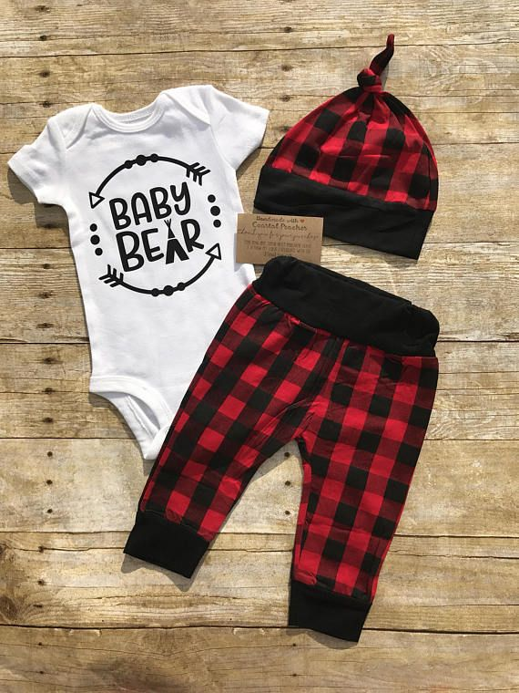 b44f1bc35 Baby bear outfit, coming home outfit, buffalo plaid, Baby boy & girl clothes,  outfit sets, red and b
