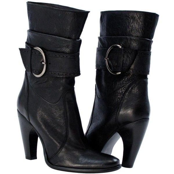 PAOLO IANTORNO Sylvia Black Calf Skin Mid- Contoured Buckle Boots ($145) ❤ liked on Polyvore featuring shoes, boots, black, high heel boots, calfskin boots, stacked heel boots, calf length boots and black boots