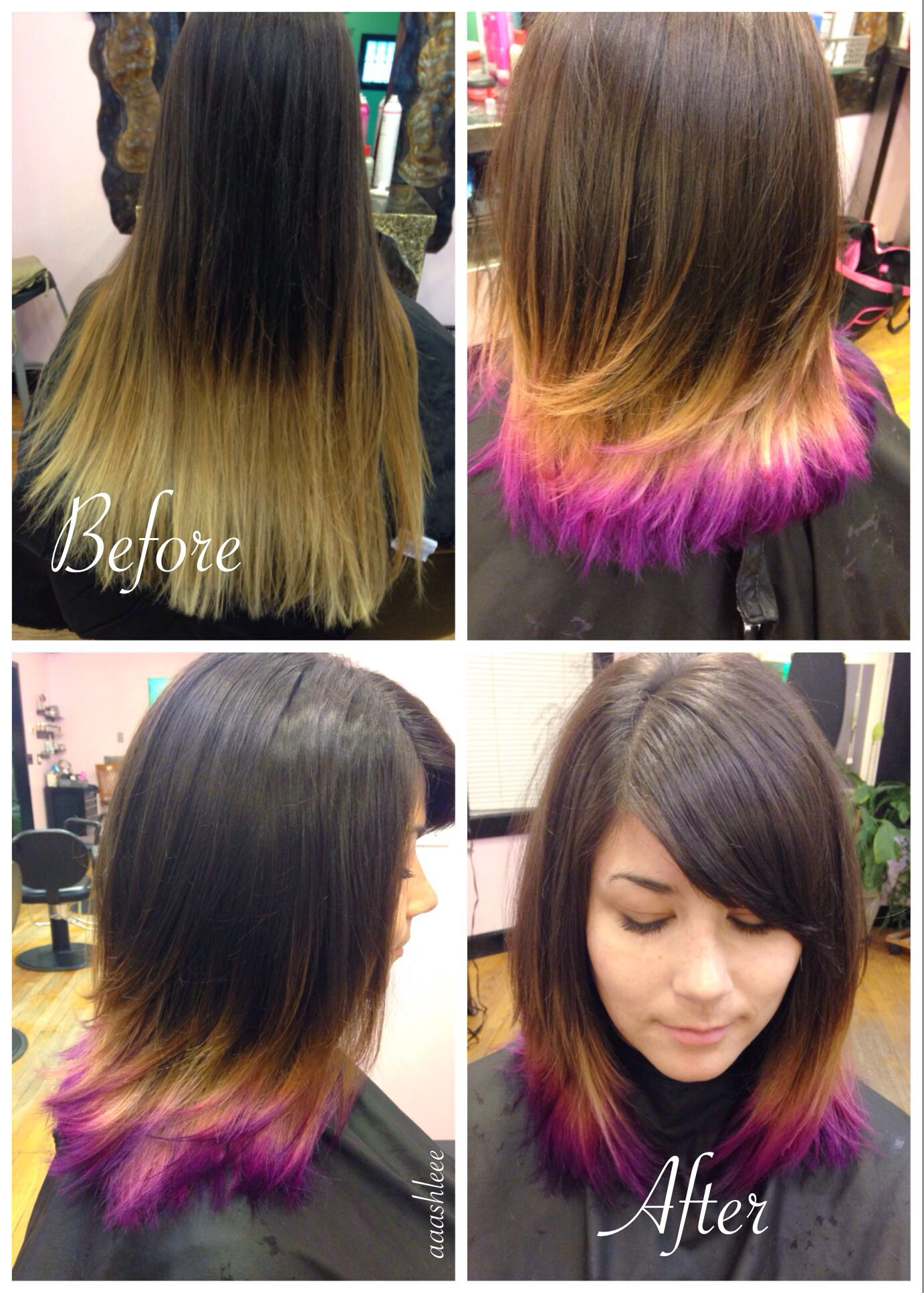 Ombre Pixie Makeover Medium Length Hair Purple Pink Brown Red