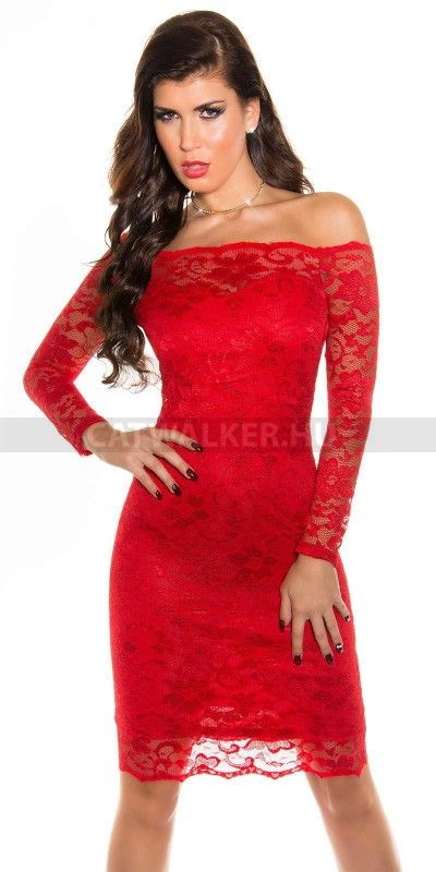 dd5550ef54 Alkalmi ruha csipke, hosszú ujjú, piros carmen | wedding ideas ...