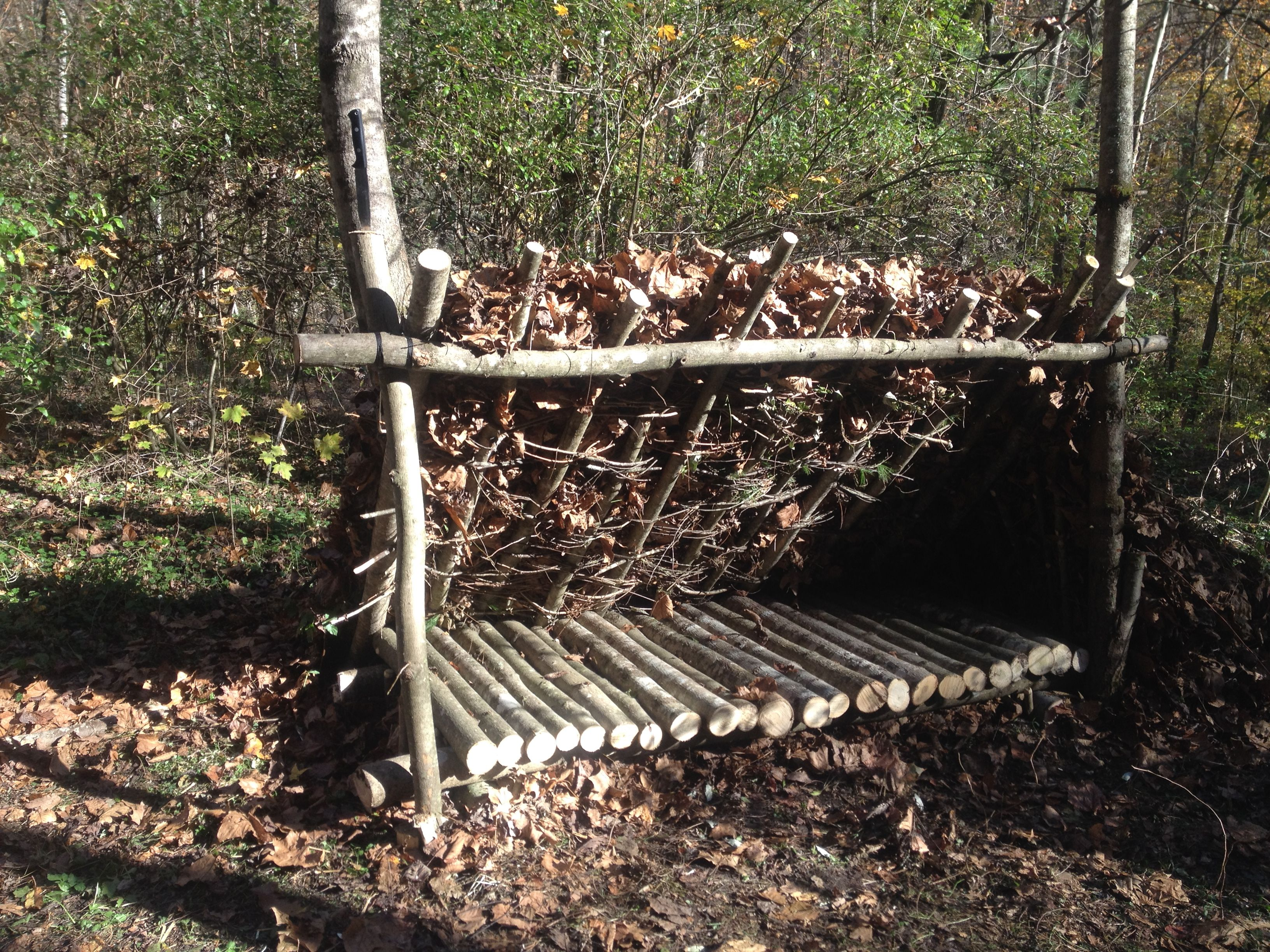 Mountain Man Shelters : A complete lean to and raised bed on our survival shelter