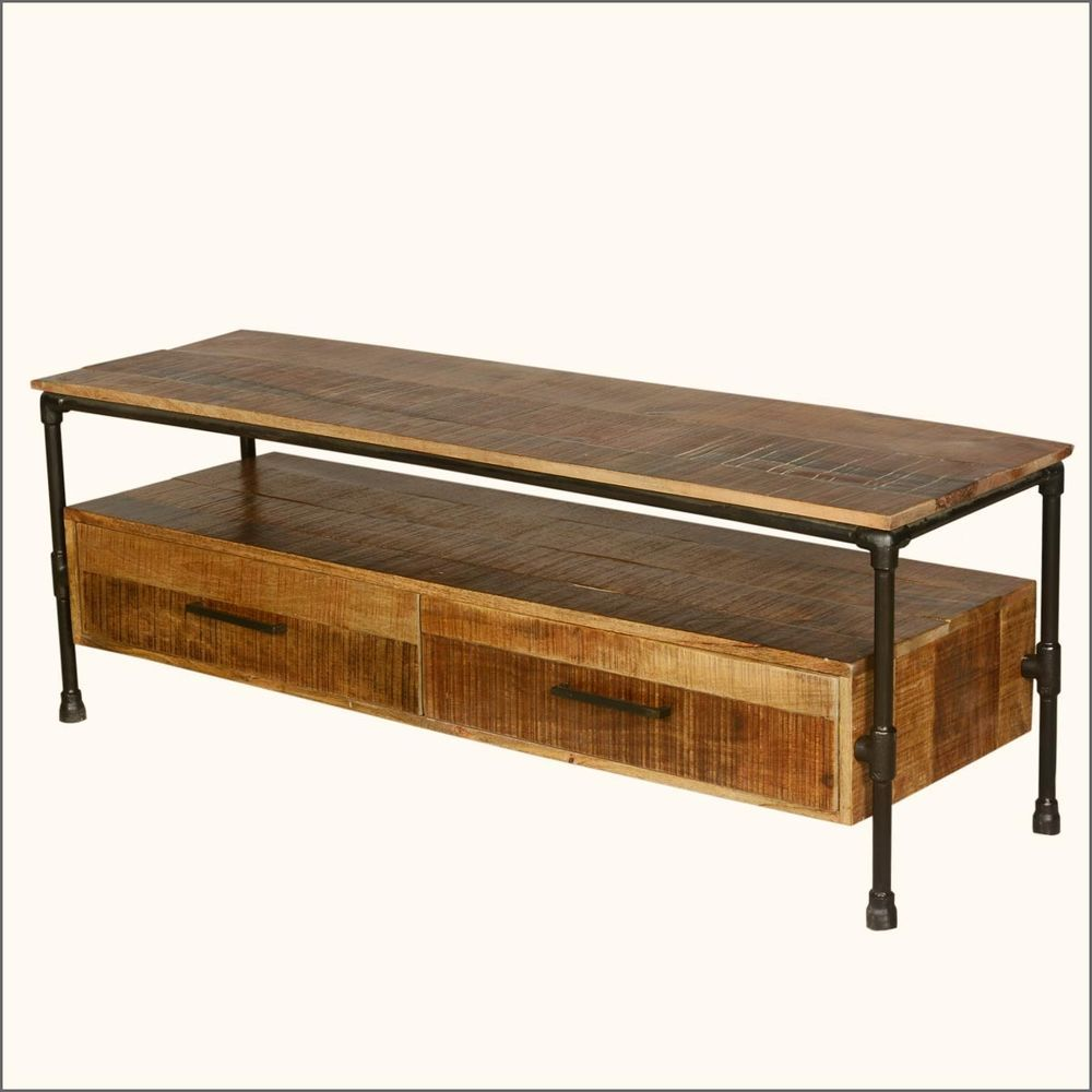 industrial iron pipe u0026 mango wood tv media stand with drawers