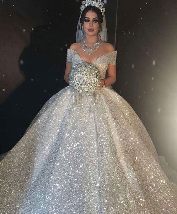 Sparkly Off the Shoulder Wedding Dresses Bridal Gown from dressydances