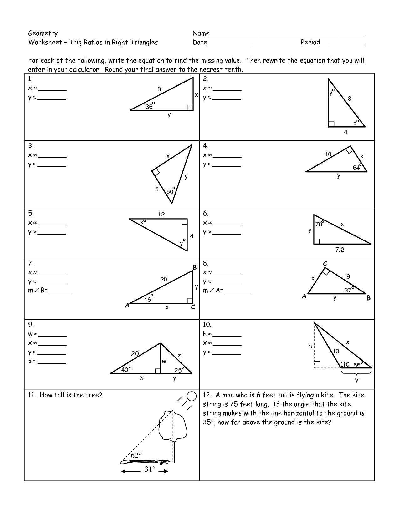 Right Triangle Trigonometry Worksheet Trigonometry